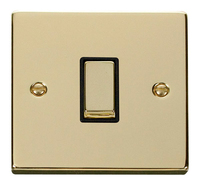 Click 'Deco Victorian Polished Brass with Black Insert 1 Gang 2 Way 'Ingot' Switch | LV0101.0172