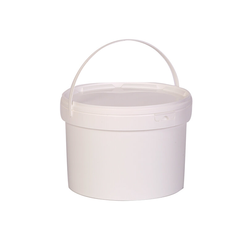 Pail and snap on lid - 5 ltr, round with plastic handle
