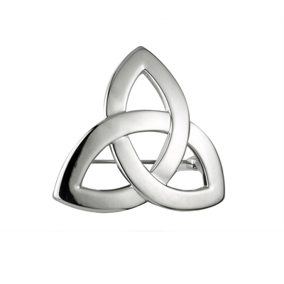 RHODIUM PLATED TRINITY KNOT BROOCH