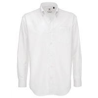 B&C Collection Men's Oxford Long Sleeve Shirt, White