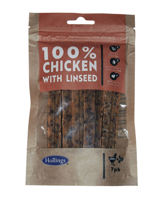 Hollings 100% Natural Chicken Small Bar with Linseed 7pk x 10