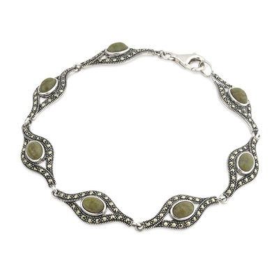 SILVER MARBLE AND MARCASITE BRACELET (BOXED)