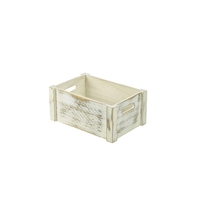 Wooden Crate Rustic 34 x 23 x 15cm White Wash Finish