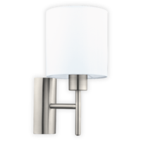 EGLO Satin Nickel and White Shade Wall Light Round IP20  | LV1902.0104