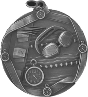 60mm Swimming Medallion (Antique Silver)