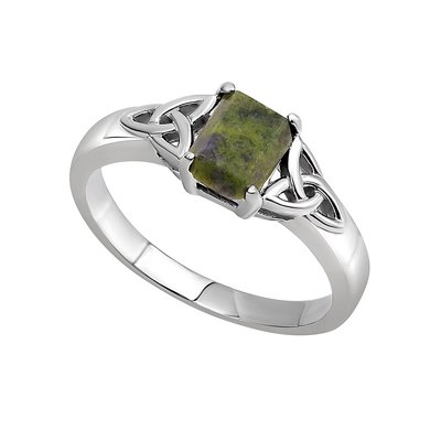 Solvar sterling silver trinity knot ring with Connemara marble stone in the centre