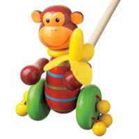 wooden push along monkey