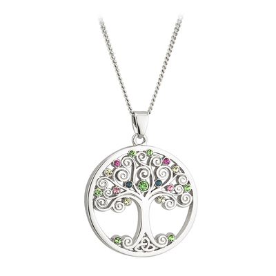 SILVER PLATED CRYSTAL TREE OF LIFE PENDANT
