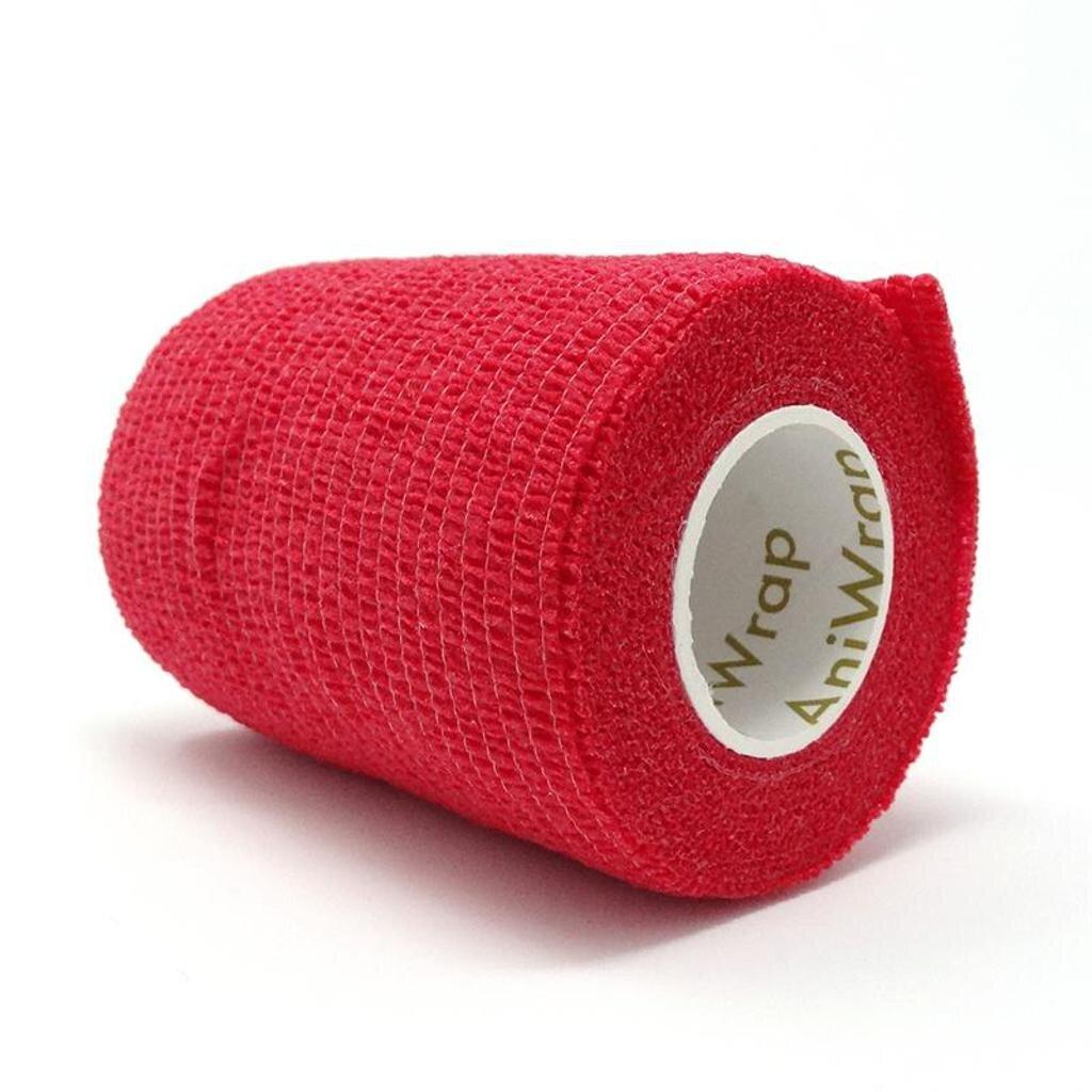 AniWrap™ Cohesive Bandage -  Plain Red 5cm (12)