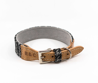 Ralph & Co Tweed & Leather Collar - Ascot Black Small x 1