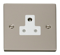 Click Deco Victorian Pearl Nickel with White Insert  5Amp Socket | LV0101.0134
