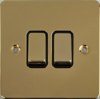 Flat Plate Polished Brass 16AX 2G 2 Way Switch BLACK | LV0701.0135