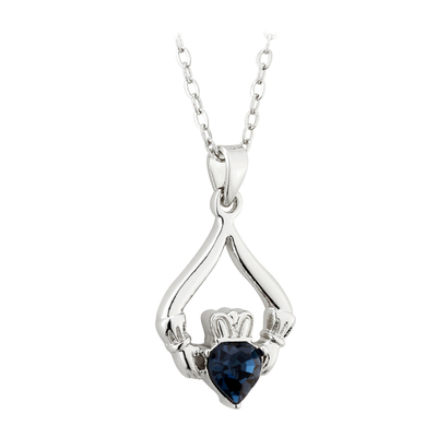 RHODIUM PLATED CLADDAGH BIRTHSTONE - DECEMBER