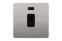 Schneider Ultimate Screwless 1 Gang Double Pole Switch + Neon Stainless Steel Black LV0701.0936