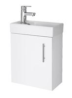 White 400mm Minimalist Wall Hung  Unit & Basin Gloss White