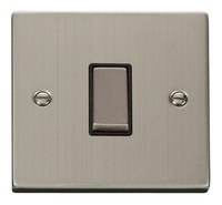 Click Deco Victorian Stainless Steel with Black Insert 1 Gang 2 Way 'Ingot' Switch | LV0101.0075