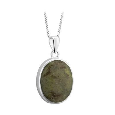 sterling silver oval connemara marble pendant s46616 from Solvar
