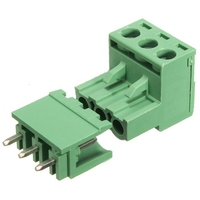 TERMINAL BLOCK CONNECTOR 3.5mm ANGLE 3 PINS SCREW GREEN PLUGGABLE TYPE