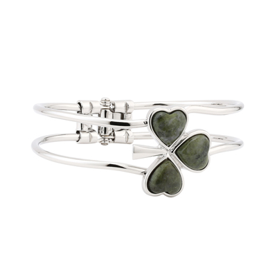 RHODIUM PLATED CONNEMARA MARBLE SHAMROCK BANGLE