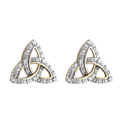 9K DIAMOND TRINITY KNOT STUD EARRINGS