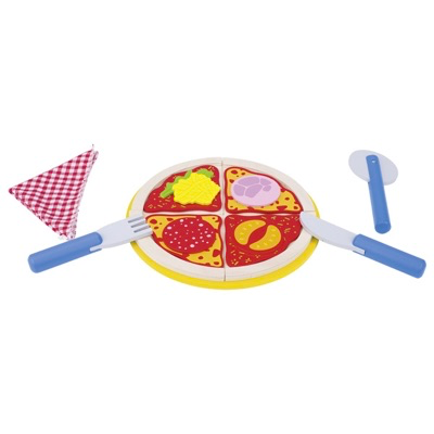 wooden toy pizza set on a plate with knife, fork, and pizza wheel