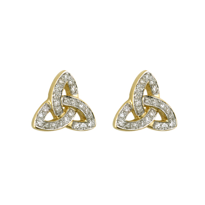 14K MICRO DIAMOND TRINITY EARRINGS(BOXED)