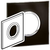 Arteor (British Standard) Plate 2 Module 1 Gang Round Mirror Black   LV0501.0162