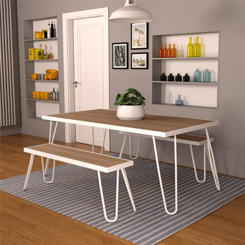Paulette Outdoor Table and Bench Set (White) 4