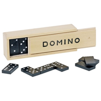 Traditional box of wooden dominoes