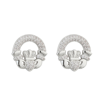 RHODIUM CRYSTAL CLADDAGH STUD EARRINGS