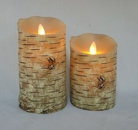 Flameless Flickering Candles Wood Effect