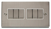 Click Deco Victorian Stainless Steel with White Insert 6 Gang 2 Way 'Ingot' Switch | LV0101.0103