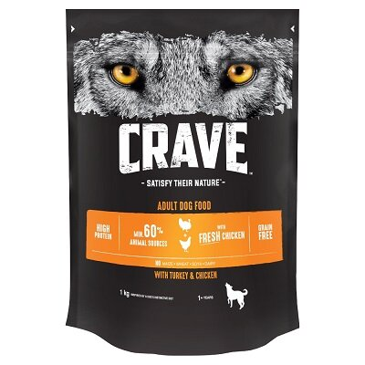 Crave Complete Grain Feed Dry with Turkey & Chicken 3 x 1kg
