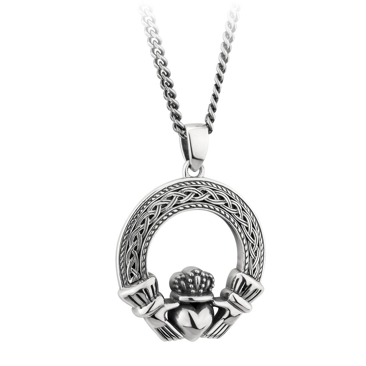 sterling silver celtic claddagh pendant s46452 from Solvar