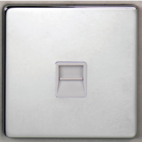 DETA Screwless Master Telephone plate Satin Chrome White Insert | LV0201.0275