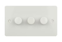 Flat Plate WHITE DIMMER  3Gang 2way| LV0701.0546