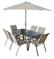 Copenhagen 8pce Rect Set W/Parasol Table &Parasol Brn Box W/Col