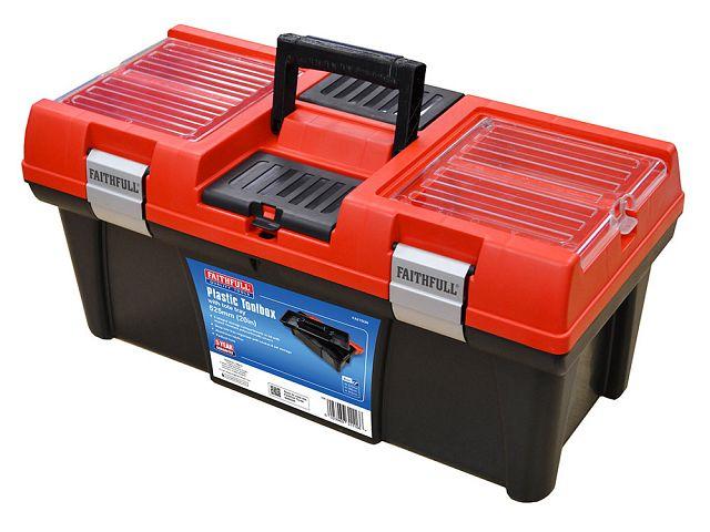 "Faithfull Red Plastic Toolbox C/W Tray 20"" FAITB20"
