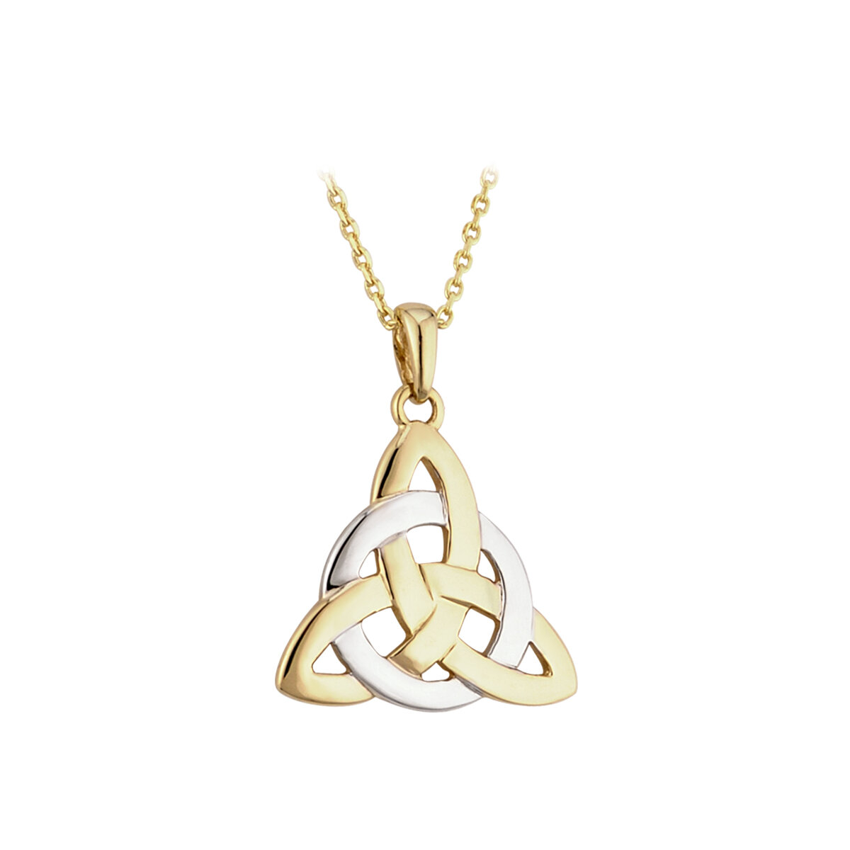 14k two tone gold celtic trinity knot necklace s44061 from Solvar