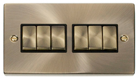 Click Deco Victorian Antique Brass with Black Insert 6 Gang 2 Way 'Ingot' Switch | LV0101.0009