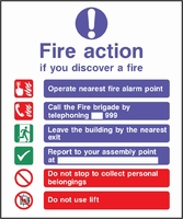 Fire Action Sign FACT0002-0439