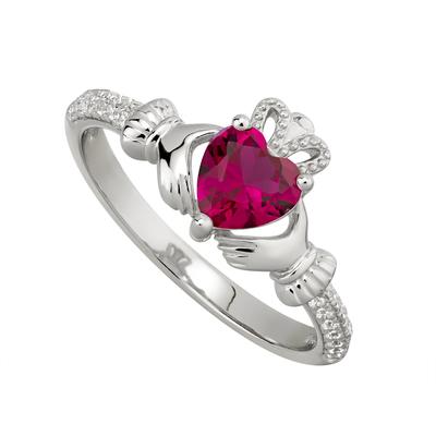 RUBY CLADDAGH RING (JULY BIRTHSTONE)