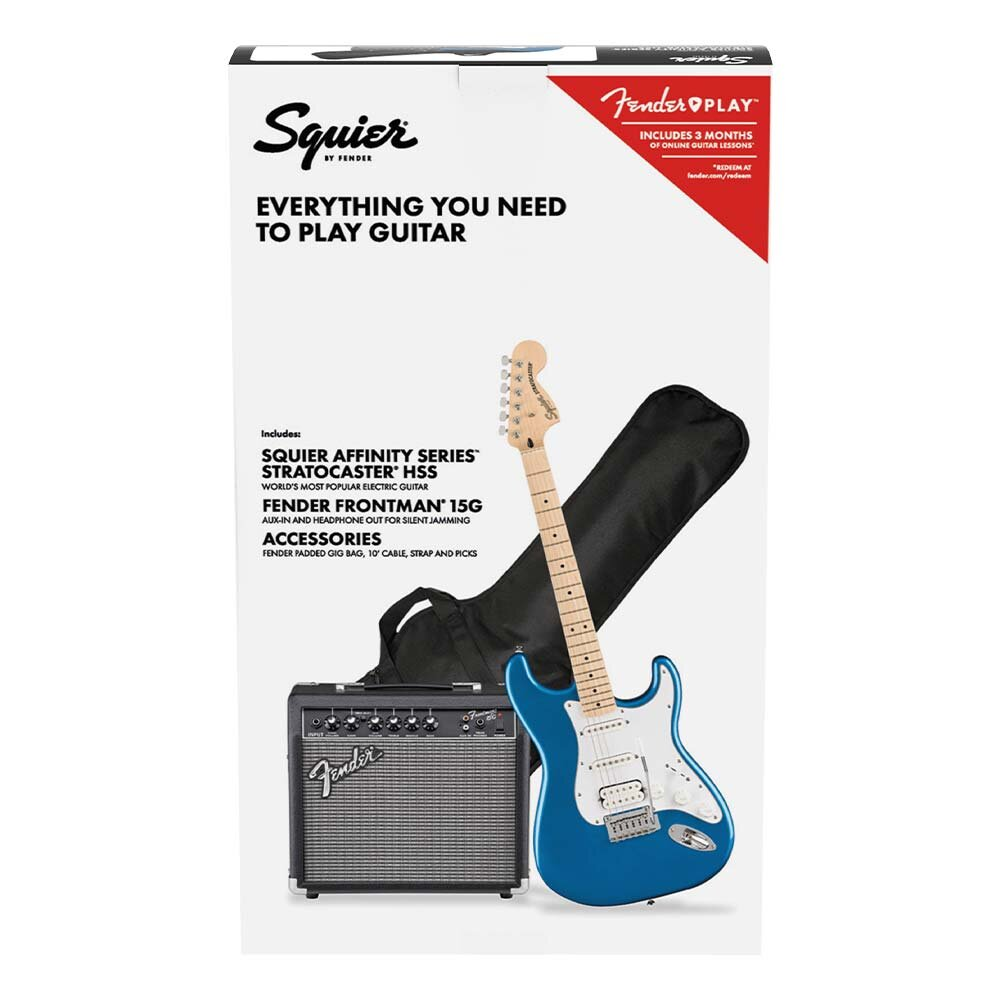 Squier Affinity Stratocaster HSS Pack in Lake Placid Blue with Frontman 15G Amp