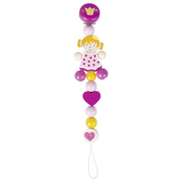 Wooden princess pacifier chain for baby's soother
