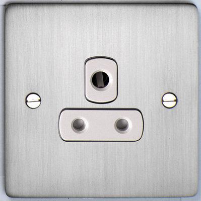 DETA Flat Plate 5Amp Socket Satin Chrome with White Insert | LV0201.0190