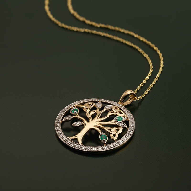 styled image of Solvar gold tree of life pendant S46105 on the green background