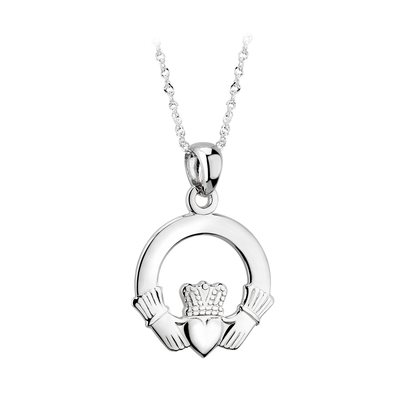 14K WHITE GOLD MEDIUM CLADDAGH