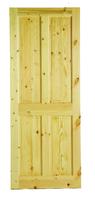 """4 Panel Solid Pine Door 6 Foot 8"""" X 2 Foot 10"""" Square Top"""