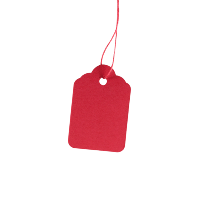 LYNX 23C 32x22mm coloured strung tag - Red (Box 1k)