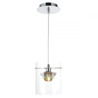 Decade 1 Light Pendant, Polished Chrome/Clear | LV1802.0055